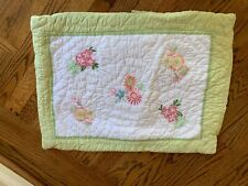 Pottery Barn Kids MADELINE Quilted Standard Pillow Sham with Embroidered Flowers