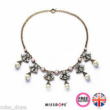 NEW Pearl Drop Pendant Necklace Statement Vintage Womens Chain Crystal Pink UK