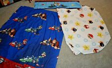 MARIO KART THE RACE IS ON TWIN SHEET SET FITTED, 2 drapes & valance set 4 pc