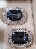 Brilliant Special Events Rhinestone Silver Plated Black Grey Shoe Clips
