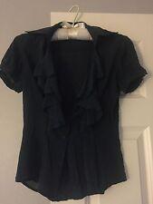 BEBE Navy Dark Blue Women's Career Blouse Button Up Ruffle Blouse Top Shirt XS