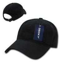 Plain Black Adjustable Dad Hat Strapback Solid Polo Baseball Cap Curve Bill