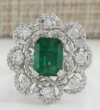 4.70 Carat Natural Emerald 14K White Gold Diamond Ring