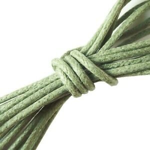 Waxed Cotton Cord 1mm Sage - sold per 100 metre reel