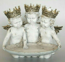 Divine Angelic Resin 3 Cherubs ~ Angel Wearing Gold Crowns ~ With Tray Ornament