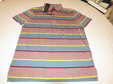 Mens Tommy Hilfiger Polo shirt S sml Striped 7871392 Beet Red 610 Custom Fit NEW