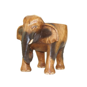 """10"""" Wooden Elephant Stool Flower Pot Stand Hand Carved Furniture Home Decor."""