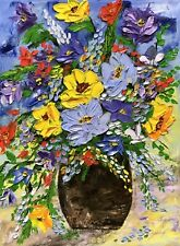 Original Oil Painting Stretch Canvas 12x 16�Palette Knife Flowers by Angela