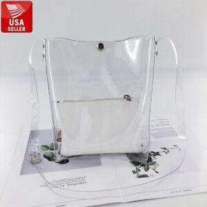 Transparent PVC Stylish Big Purse Clear Handbag Shoulder Bag Tote Strap Insert