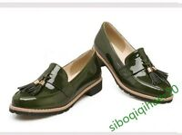 New Retro Patent Leather New Fashion Women's Tassel Flats Casual Plus Shoes Size