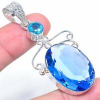 "London Blue Topaz Ethnic Handmade 925 Silver Jewelry Pendant 2.48"" VS-646"