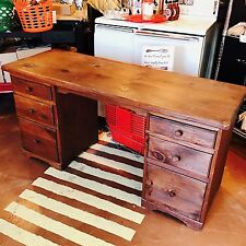 "Chiseled Hand Crafted Vintage All Wood Desk 60 x 21 x 30"" *Local Pick Up Only*"