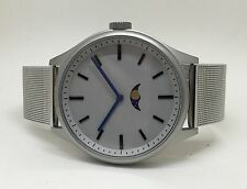Bauhaus Moon Phase Watch: SILVER Modern age wares design, uniform steel bracelet