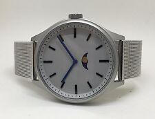 Bauhaus Moon Phase Watch: SILVER Modern wares design, uniform steel bracelet
