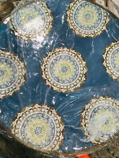 "Pottery Barn Blue Medallion 18"" Round Melamine Indoor Outdoor Platter NEW"
