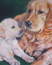 """Golden Retriever CANVAS PRINT painting dog LSHEP art  8x10"""""""