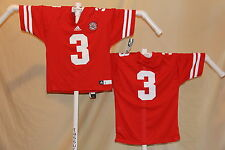 NEBRASKA HUSKERS  Adidas #3  FOOTBALL JERSEY  Youth Large  NWT  $45 retail  red