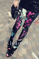 UK STOCK Womens Ladies Funky Graffiti Leggings Pants Size 8 10 12 14