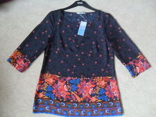 EX M&S BLUE MIX FLORAL PRINT SILKY SCOOP NECK 3/4 SLEEVE EASY CARE TUNIC TOP   8