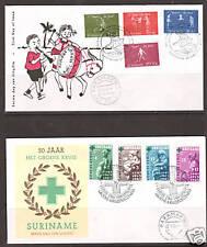 Surinam Sc B108/B136 FDCs. 1964-1966 Semi-Postals on 8 FDCs