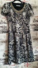 Marks&Spencer Embellished Black Mix Dress Floral print silk look size 8 UK