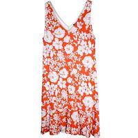 Tommy Bahama Dress Size XL Sleeveless Orange White Floral Hawaiian Shift Tank