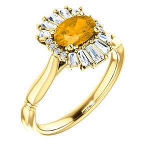 Genuine Citrine & 1/4 CT Diamond Halo-Style Ring In 14K Yellow Gold