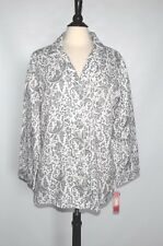 NWT CHAPS Womens White Gray Long Sleeve Cotton Blend Buttons Down Gowns Size XL
