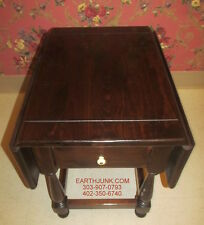 Ethan Allen Antiqued Tavern Pine Drop Leaf Rectangular End Table 12 8034