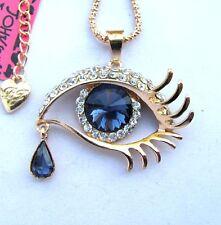 Betsey Johnson Shiny crystal/glass Beautiful big eyes pendant Necklace#743L
