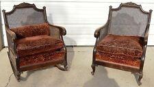 Antique Wood & Cane Rocker/Rocking & Parlor Lounge Chair W/Cushions