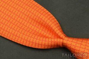 "HERMES 5330 TA Orange Geo Dash Dot 100% Silk Mens Luxury Tie - 3.50"""