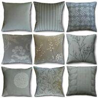 Designer Cushion Covers Handmade in Laura Ashley Steel Grey Fabrics Plain Floral