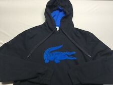 Lacoste Mens Hoodie Blue Size 7 XL Sports Pull-Over Fleece Hoodded big gator