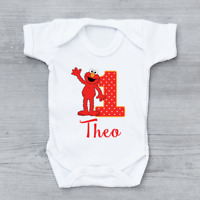 Personalised Elmo 1st First Birthday Unisex Baby Grow Bodysuit
