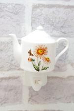 Night Light Michaelmas Daisy Ceramic Teapot Plug In On/Off Switch Nightlight