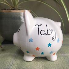 Personalised Piggy Bank (Small Stars) Birthday / Christening / New Baby Gift