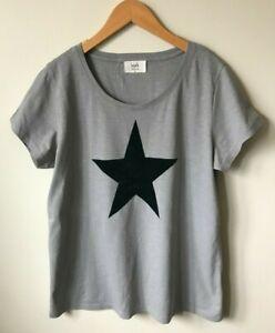 Hush Flock Star print Tshirt Top S M Grey