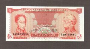 1989 5 BOLIVARES VENEZUELA CURRENCY GEM UNC BANKNOTE NOTE MONEY BANK BILL CASH