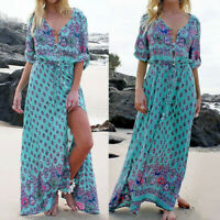 Women Fashion Long Maxi Long Sleeve Dress V Neck Floral Print Beach Party Dress