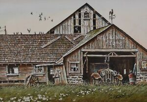Geoffrey Markovich Painting Acrylic Drybrush Old Garage Canadian US Listed