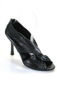 Vera Wang Lavender Label Womens Wrapped Leather Peep Toe Heels Black Size 7.5