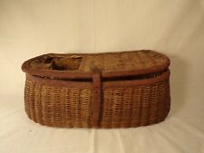 Antique Wicker Fishing Creel Basket with Leather Trim Great Cabin Decor