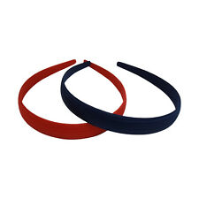 Two Headbands 3/4 Inch Wide Navy & Red Fabric Covered Hair Band