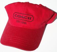 NEW! Red Genuine COACH NEW YORK Men's Leather Brim, Cotton Ball Cap