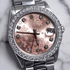 Rolex 31mm Pink Flower Diamond Dial Bezel Oyster Stainless Steel Datejust Watch