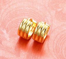 Hot Sell Fashion Yellow Gold Plated Stripe Streak Huggie Hinged Hoop Earrings