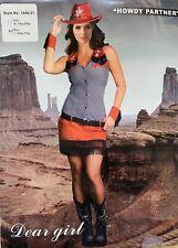 Ladies Howdy Partner fancy dress sexy cowgirl wild west cow girl Size 8 10 12