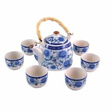 More details for chinese tea set - blue and white ceramic - peony pattern - gift box