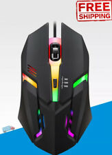Gaming Mouse Optical Wired USB Multicolor LED 4 Button Laptop PC Games Esports